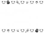 ネズミの顔とコマや羽子板の上下白黒フレーム飾り枠イラスト
