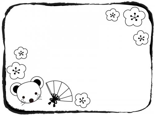 ネズミと扇子と梅の花の白黒フレーム飾り枠イラスト