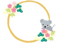 ネズミと松竹梅と筆線の円形お正月フレーム飾り枠イラスト