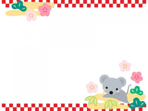 ネズミと松竹梅と上下の市松模様のお正月フレーム飾り枠イラスト