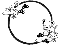 ネズミと松竹梅と筆線の白黒円形お正月フレーム飾り枠イラスト