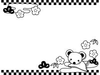 ネズミと松竹梅と上下の市松模様の白黒フレーム飾り枠イラスト