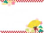 金の扇子と松竹梅の上下市松模様のお正月フレーム飾り枠イラスト