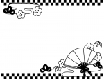 扇子と松竹梅の上下市松模様の白黒フレーム飾り枠イラスト