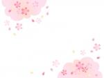 ふんわりとした桜の上下フレーム飾り枠イラスト