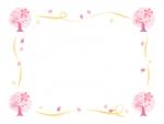 桜の木と黄色いリボンの囲みフレーム飾り枠イラスト