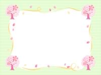 桜の木と黄色いリボンの緑色囲みフレーム飾り枠イラスト