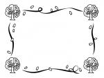 桜の木とリボンの白黒囲みフレーム飾り枠イラスト