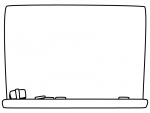 黒板の白黒フレーム飾り枠イラスト
