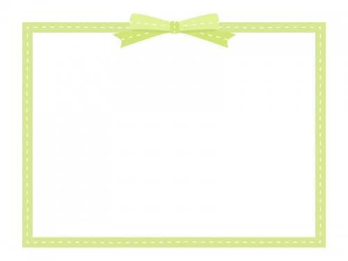 リボンの黄緑色の四角いフレーム飾り枠イラスト