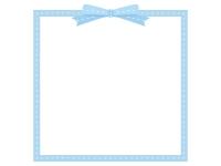 リボンの水色の四角いフレーム飾り枠イラスト