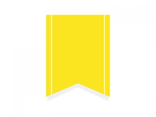 黄色いリボン風タグのフレーム飾り枠イラスト