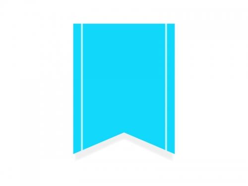 水色のリボン風タグのフレーム飾り枠イラスト