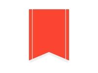 赤色のリボン風タグのフレーム飾り枠イラスト
