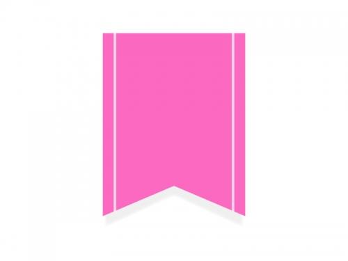 ピンクのリボン風タグのフレーム飾り枠イラスト