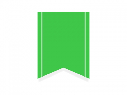 緑色のリボン風タグのフレーム飾り枠イラスト