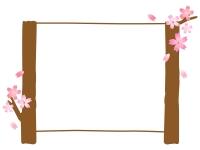 桜の木の看板風フレーム飾り枠イラスト