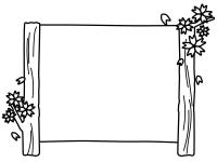桜の木の看板風の白黒フレーム飾り枠イラスト
