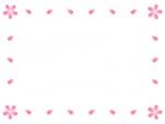 四隅の桜の花と花びらの囲みフレーム飾り枠イラスト