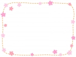 桜の点線フレーム飾り枠イラスト
