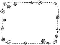 桜の点線白黒フレーム飾り枠イラスト