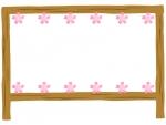 上下の桜と看板のフレーム飾り枠イラスト