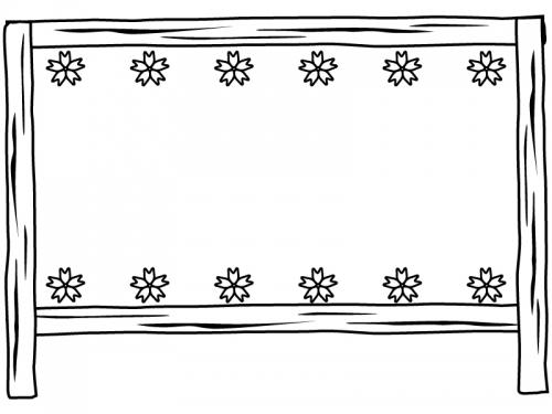 上下の桜と看板の白黒フレーム飾り枠イラスト