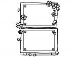 桜と縦に2つ並んだ立て看板の白黒フレーム飾り枠イラスト