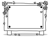 桜と木の立て看板の白黒フレーム飾り枠イラスト