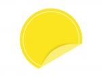めくれた黄色い円形のシール・ラベルのフレーム飾り枠イラスト