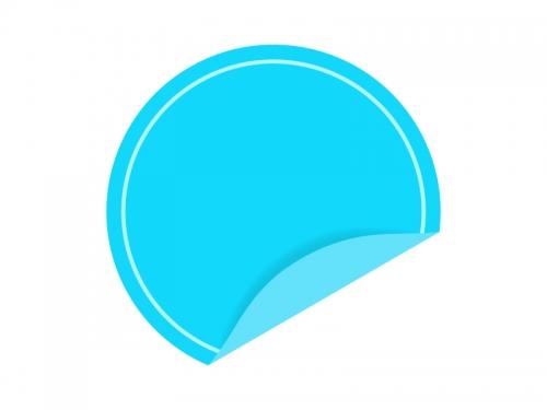 めくれた水色の円形のシール・ラベルのフレーム飾り枠イラスト