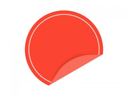 めくれた赤い円形のシール・ラベルのフレーム飾り枠イラスト