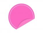 めくれたピンクの円形のシール・ラベルのフレーム飾り枠イラスト