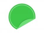 めくれた緑色の円形のシール・ラベルのフレーム飾り枠イラスト