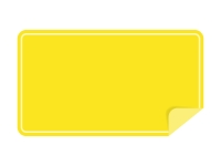 めくれた黄色い横長のシール・ラベルのフレーム飾り枠イラスト