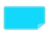 めくれた水色の横長のシール・ラベルのフレーム飾り枠イラスト