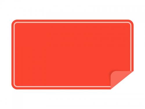 めくれた赤い横長のシール・ラベルのフレーム飾り枠イラスト