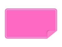 めくれたピンクの横長のシール・ラベルのフレーム飾り枠イラスト