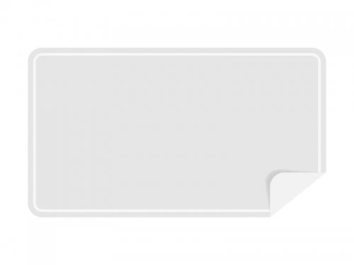 めくれた白い横長のシール・ラベルのフレーム飾り枠イラスト