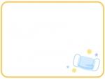 水色のマスクの黄色の四角フレーム飾り枠イラスト