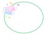 マスクの緑色の楕円形フレーム飾り枠イラスト