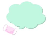ピンク色のマスクの緑色のもこもこ吹き出しフレーム飾り枠イラスト