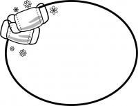 マスクの白黒楕円形フレーム飾り枠イラスト