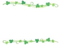 アイビー(蔦・ツタ)葉っぱの上下フレーム飾り枠イラスト