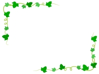 アイビー(蔦・ツタ)葉っぱのフレーム飾り枠イラスト