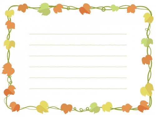 紅葉したアイビー(蔦・ツタ)葉っぱのメモ帳フレーム飾り枠イラスト