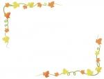 紅葉したアイビー(蔦・ツタ)葉っぱのフレーム飾り枠イラスト