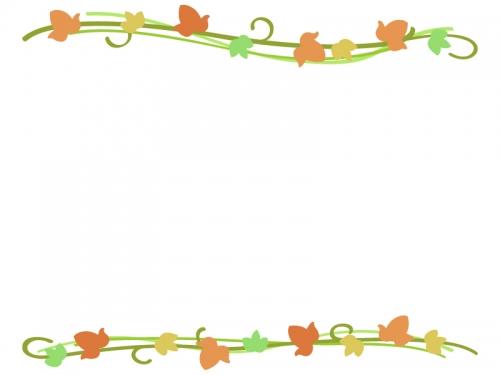 紅葉したアイビー(蔦・ツタ)葉っぱの上下フレーム飾り枠イラスト