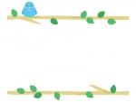 枝に止まる青い小鳥の上下フレーム飾り枠イラスト