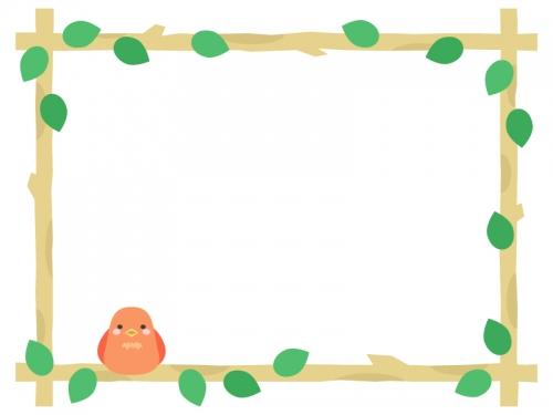 枝に止まるオレンジ色の小鳥の囲みフレーム飾り枠イラスト